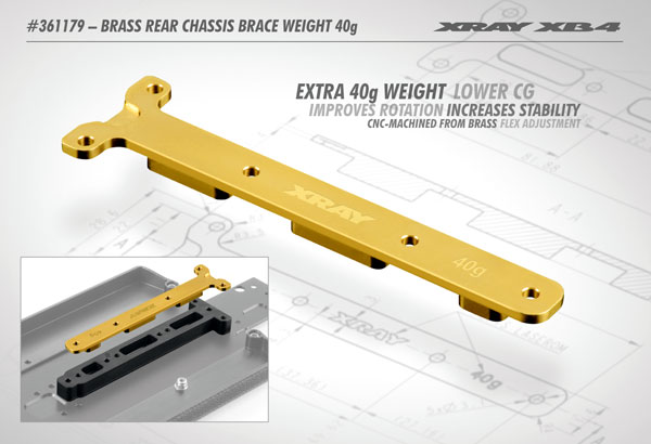 SMI XRAY News XB4 Chassisstrebe aus Messing 40g