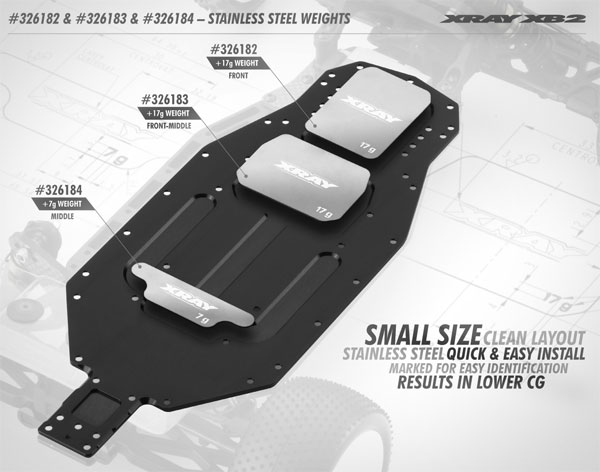 SMI XRAY News XB2 Chassis Edelstahlgewichte