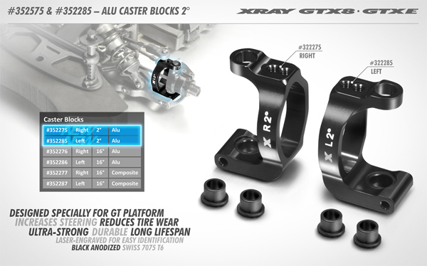 SMI XRAY News Neue GTX8 Alu Caster Blocks 2°