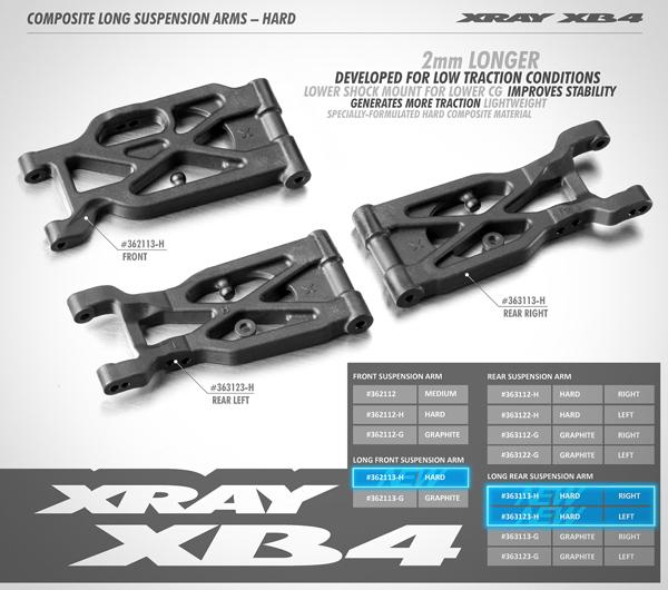 SMI XRAY News Xray XB4 + 2mm harte Querlenker