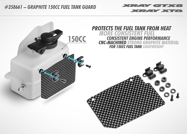 SMI XRAY News GTX8 Graphite Kraftstofftankschutz