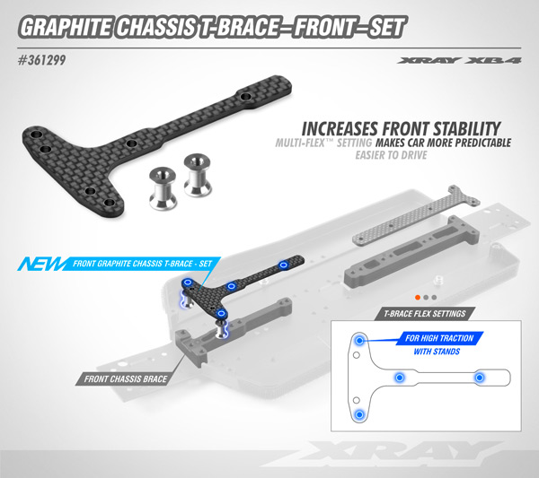 SMI XRAY News XB4´21 Graphit Chassis T-Strebe Front