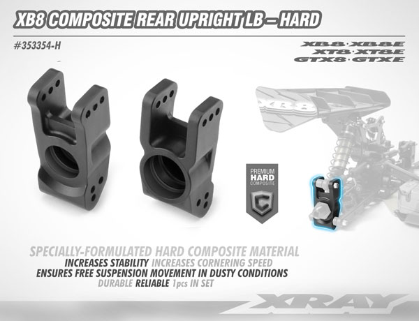 SMI XRAY News XB8 Composite rear Radträger Hard