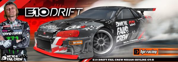 HPI Racing E10 Drift Fail Crew Skyline R34 GT-R